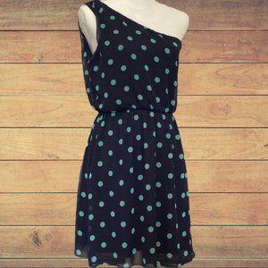 Lush One Shoulder Lined Chiffon Midi Dress